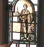 Detail of stained-glass window at Calhoun College