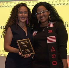 a.k. payne '19  with Afro-American Cultural Center Director Rise Nelson