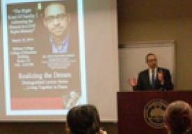 Photo of Jonathan Holloway speaking at Stillman College